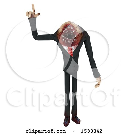 Clipart of a 3d Professional Parasite Pointing up - Royalty Free Illustration by Leo Blanchette