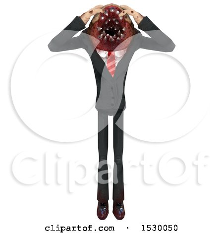 Clipart of a 3d Frustrated Professional Parasite - Royalty Free Illustration by Leo Blanchette