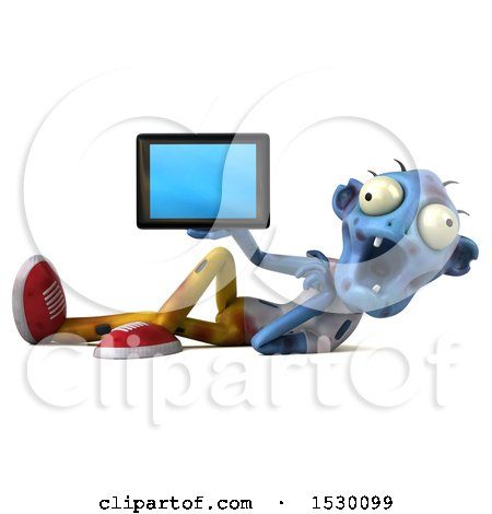 Clipart of a 3d Blue Zombie Holding a Tablet, on a White Background - Royalty Free Illustration by Julos