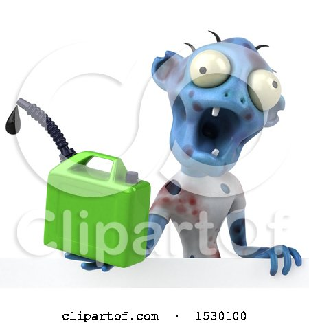 Clipart of a 3d Blue Zombie Holding a , on a White Background - Royalty Free Illustration by Julos