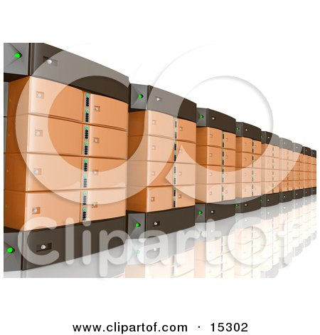 Wall Of Orange Computer Server Towers Clipart Illustration Image by 3poD