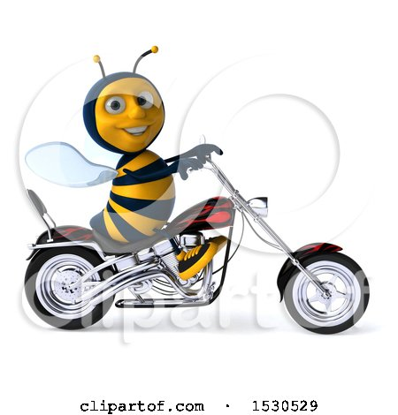 Clipart of a 3d Male Bee Riding a Chopper Motorcycle, on a White Background - Royalty Free Illustration by Julos