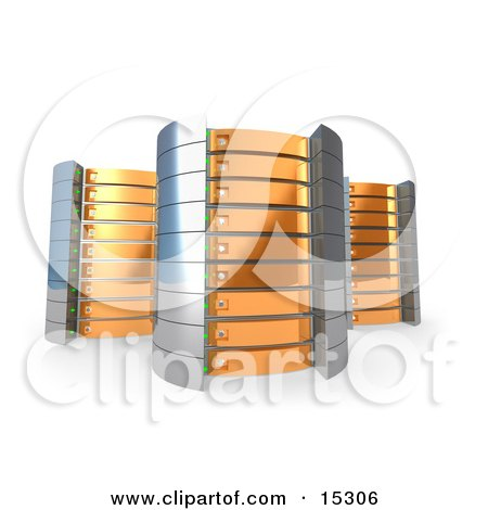 Three Orange Towers of Server Racks Clipart Illustration Image by 3poD