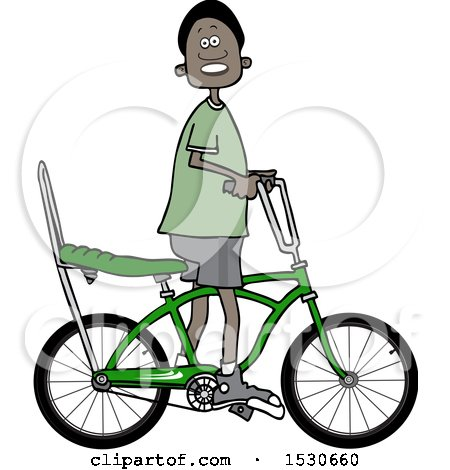 Clipart of a Happy Black Boy Riding a Stingray Bicycle - Royalty Free Vector Illustration by djart