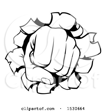 Clipart of a Black and White Fisted Hand Punching a Hole Through a Wall - Royalty Free Vector Illustration by AtStockIllustration