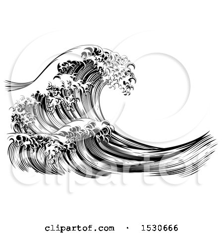 Clipart of a Black and White Vintage Styled Japanese Great Wave - Royalty Free Vector Illustration by AtStockIllustration