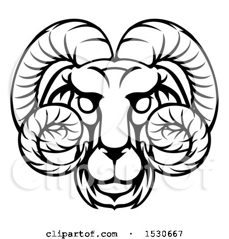 Clipart of a Black and White Lineart Aries Ram Astrology Zodiac Horoscope - Royalty Free Vector Illustration by AtStockIllustration
