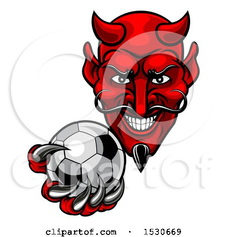 Clipart of a Grinning Evil Red Devil Holding out a Soccer Ball in a Clawed Hand - Royalty Free Vector Illustration by AtStockIllustration