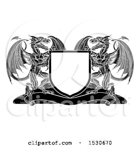 Clipart of a Black and White Shield with Dragons - Royalty Free Vector Illustration by AtStockIllustration