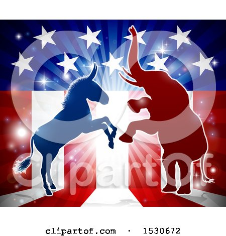 Clipart of a Silhouetted Rearing Political Democratic Donkey and Republican Elephant over an American Design and Burst - Royalty Free Vector Illustration by AtStockIllustration