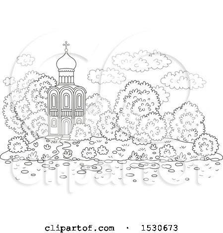 Clipart of a Black and White Picturesque Church with Mature Landscaping - Royalty Free Vector Illustration by Alex Bannykh