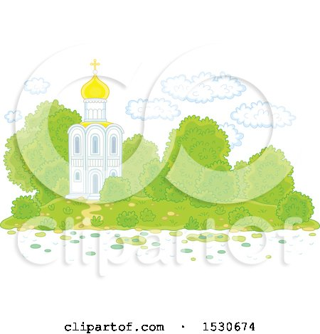 Clipart of a Picturesque White Church with Mature Landscaping - Royalty Free Vector Illustration by Alex Bannykh