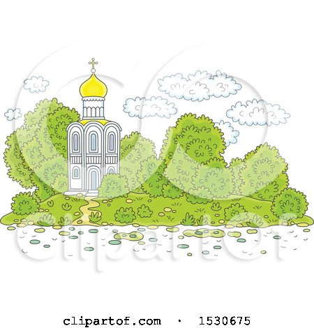 Clipart of a Picturesque White Church - Royalty Free Vector Illustration by Alex Bannykh