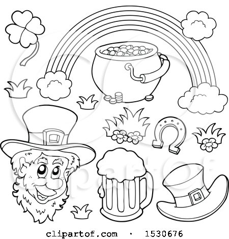 Clipart of a Black and White St Patricks Day Leprechaun with Icons - Royalty Free Vector Illustration by visekart
