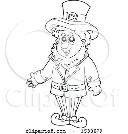 Clipart of a Black and White St Patricks Day Leprechaun - Royalty Free Vector Illustration by visekart