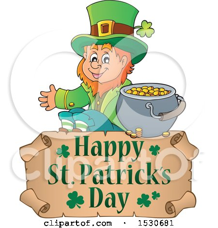 Clipart of a Happy St Patricks Day Greeting Undder a Leprechaun - Royalty Free Vector Illustration by visekart