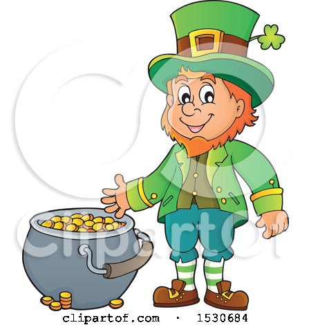 Clipart of a St Patricks Day Leprechaun with a Pot of Gold - Royalty Free Vector Illustration by visekart