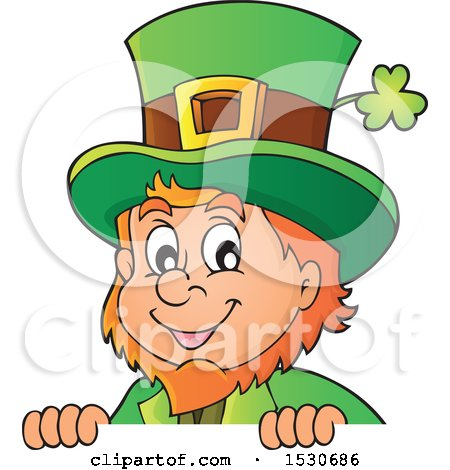 Clipart of a St Patricks Day Leprechaun over a Sign - Royalty Free Vector Illustration by visekart