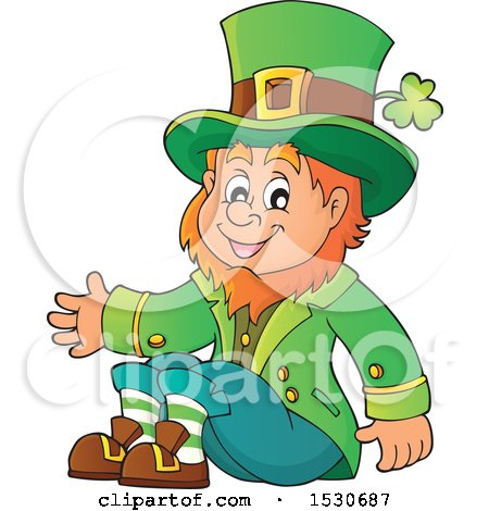Clipart of a St Patricks Day Leprechaun Sitting - Royalty Free Vector Illustration by visekart