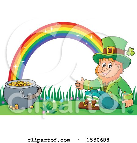 Clipart of a St Patricks Day Leprechaun with a Pot of Gold at the End of a Rainbow - Royalty Free Vector Illustration by visekart