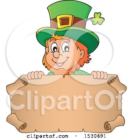 Clipart of a St Patricks Day Leprechaun over a Parchment Scroll - Royalty Free Vector Illustration by visekart