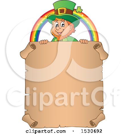 Clipart of a St Patricks Day Leprechaun and Rainbow over a Parchment Scroll - Royalty Free Vector Illustration by visekart