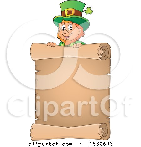Clipart of a St Patricks Day Leprechaun over a Scroll - Royalty Free Vector Illustration by visekart