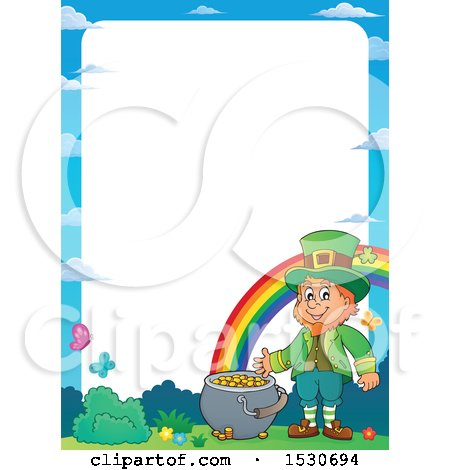 Clipart of a Border of a St Patricks Day Leprechaun with a Pot of Gold at the End of a Rainbow - Royalty Free Vector Illustration by visekart