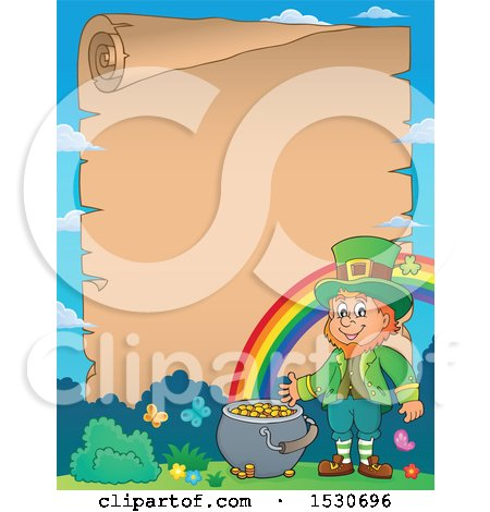 Clipart of a Scroll Border of a St Patricks Day Leprechaun - Royalty Free Vector Illustration by visekart