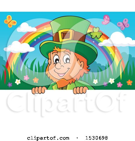 Clipart of a St Patricks Day Leprechaun and Rainbow over a Sign - Royalty Free Vector Illustration by visekart