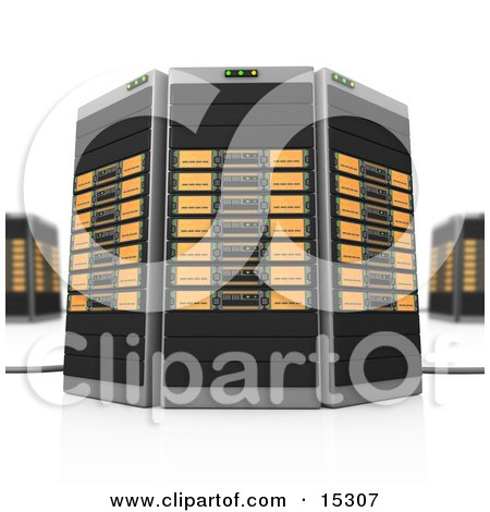 Orange Towers of Server Racks Clipart Illustration Image by 3poD