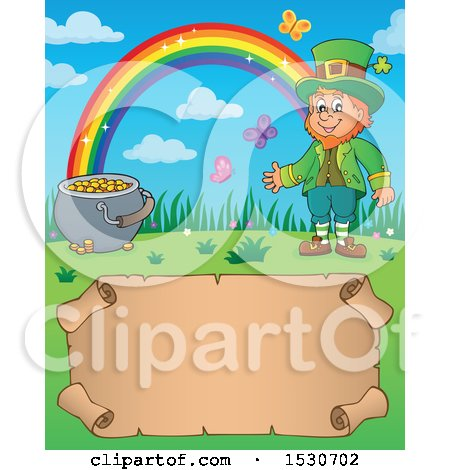 Clipart of a St Patricks Day Leprechaun, Rainbow and Pot of Gold over a Parchment Scroll - Royalty Free Vector Illustration by visekart