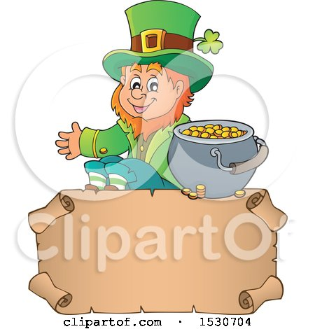 Clipart of a St Patricks Day Leprechaun and Pot of Gold over a Parchment Scroll - Royalty Free Vector Illustration by visekart
