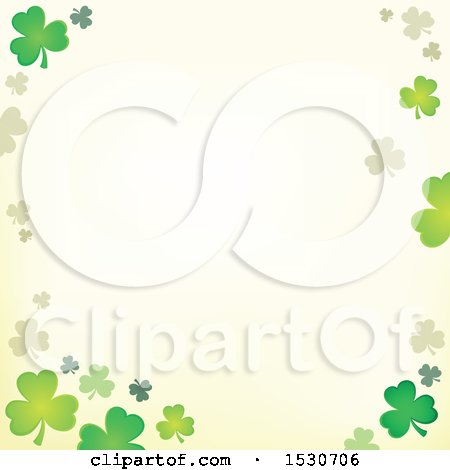 Clipart of a Border of St Patricks Day Clover Shamrocks - Royalty Free Vector Illustration by visekart