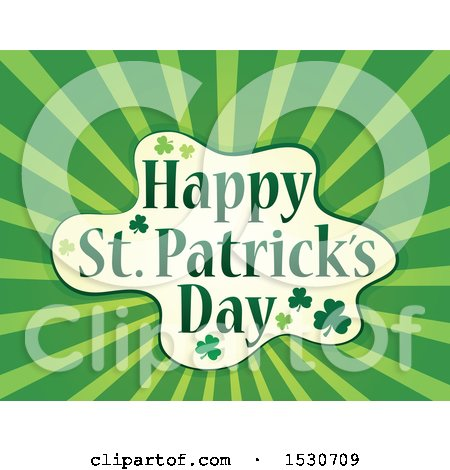 Clipart of a Happy St Patricks Day Greeting with Shamrocks and Rays - Royalty Free Vector Illustration by visekart