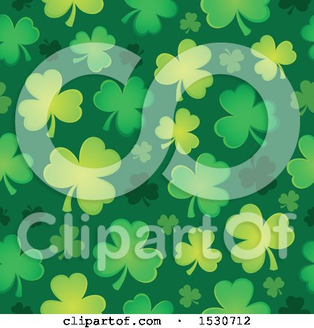 Clipart of a Seamless Shamrock Clover St Patricks Day Background Pattern - Royalty Free Vector Illustration by visekart