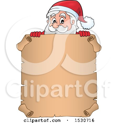 Clipart of a Christmas Santa Claus over a Parchment Scroll - Royalty Free Vector Illustration by visekart
