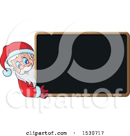 Clipart of a Christmas Santa Claus Looking Around a Blackboard - Royalty Free Vector Illustration by visekart