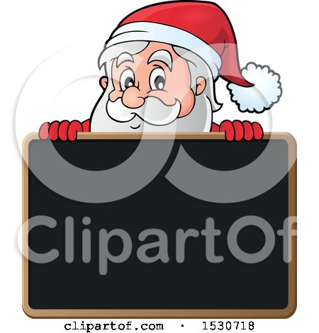 Clipart of a Christmas Santa Claus over a Blackboard - Royalty Free Vector Illustration by visekart