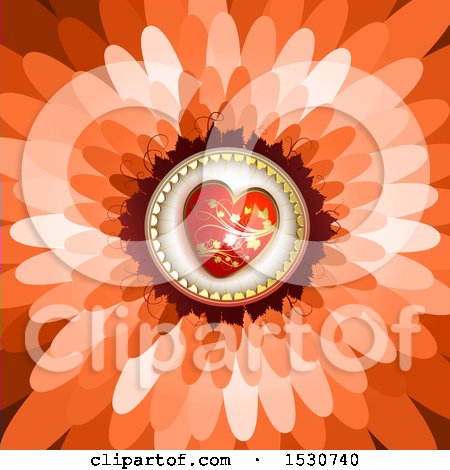 Clipart of a Flower Petal Background with a Love Heart - Royalty Free Vector Illustration by merlinul