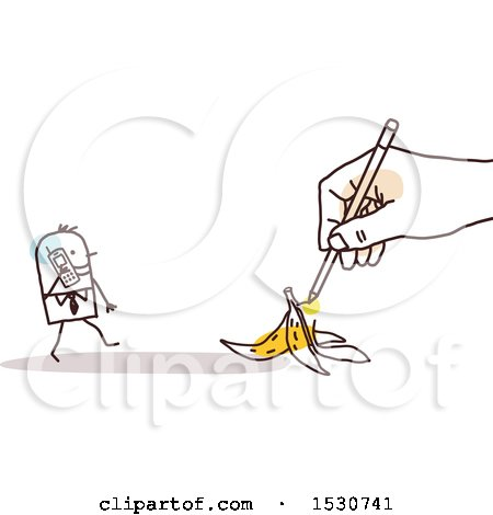 Hand Sketching a Stick Business Man Talking on a Cell Phone and Approaching a Banana Peel Posters, Art Prints