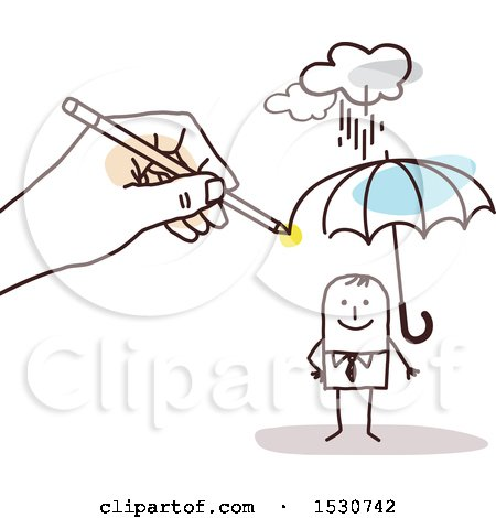 Clipart of a Hand Sketching a Stick Business Man Holding an Umbrella in the Rain - Royalty Free Vector Illustration by NL shop