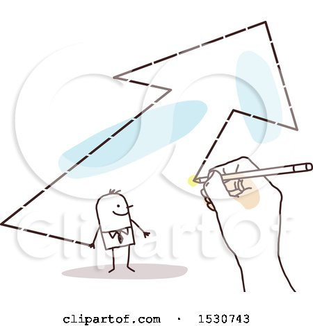 Clipart of a Hand Sketching a Stick Business Man in an Arrow - Royalty Free Vector Illustration by NL shop