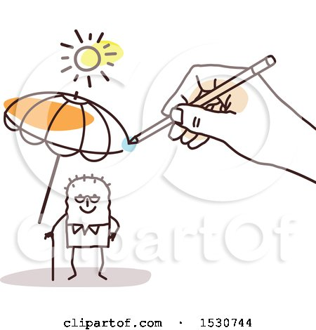 Clipart of a Hand Sketching an Umbrella to Protect a Senior Stick Man from the Sun - Royalty Free Vector Illustration by NL shop