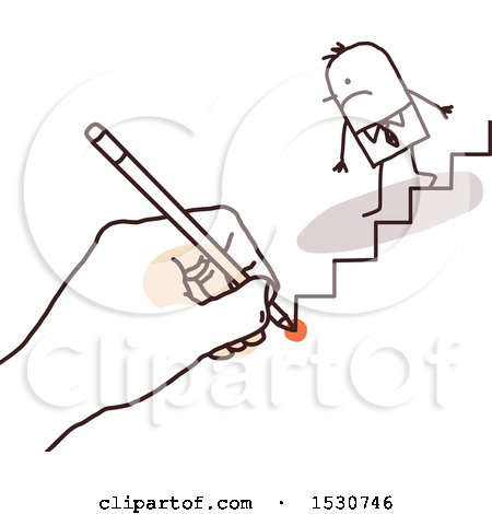 Hand Sketching a Stick Business Man Descending Stairs Posters, Art Prints
