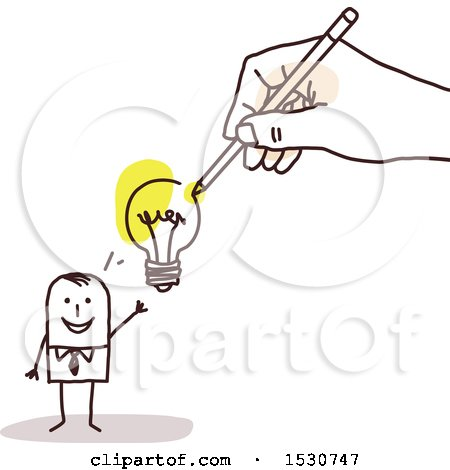 Clipart of a Hand Sketching a Stick Business Man with an Idea - Royalty Free Vector Illustration by NL shop