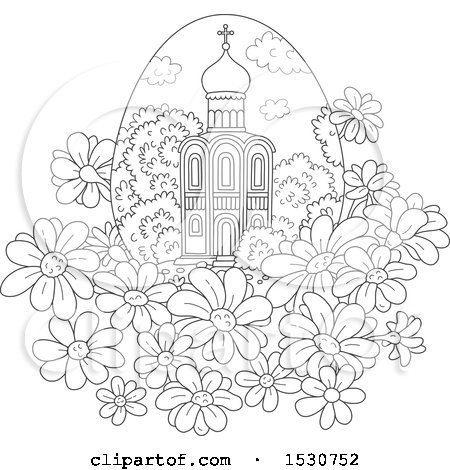 Clipart of a Black and White Church in an Egg Shaped Frame with Daisies - Royalty Free Vector Illustration by Alex Bannykh