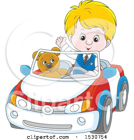 Clipart of a Blond Caucasian Boy Playing and Driving His Teddy Bear Around in a Car - Royalty Free Vector Illustration by Alex Bannykh