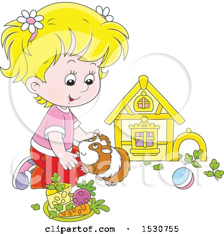 Clipart of a Blond Caucasian Girl Playing with Her Pet Guinea Pig - Royalty Free Vector Illustration by Alex Bannykh