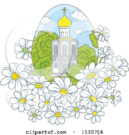 Clipart of a Beautiful Church in an Egg Shaped Frame with White Daisy Flowers - Royalty Free Vector Illustration by Alex Bannykh